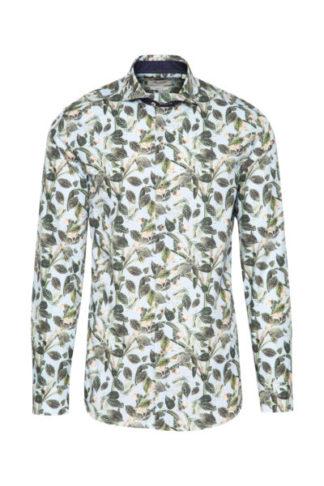 Aqua gebloemd slimfit overhemd 1 knoop HBD Marnelli