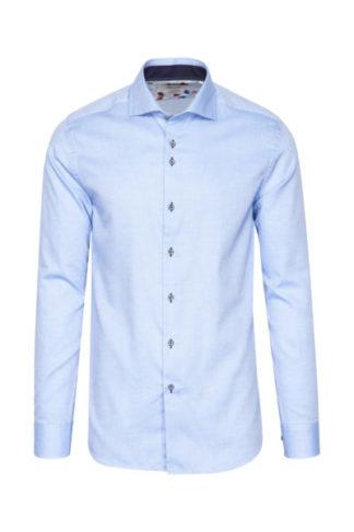 Lichtblauw slimfit overhemd 1 knoop HBD Marnelli