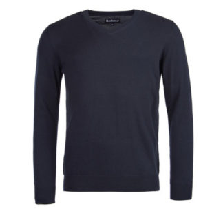 Heren Barbour Pima Cotton V-neck Trui Navy