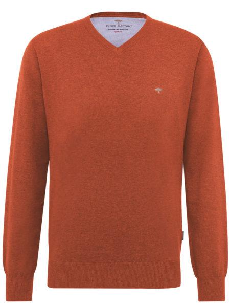 Oranje Trui.Fynch Hatton Oranje V Hals Trui Superfine Cotton