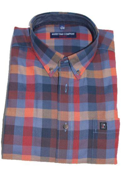 Geblokt Overhemd.Oranje Blauw Ruit Overhemd Marittimi Company Newcoast