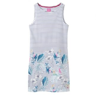 Dames Joules Blauw gestreepte jurkje met bloem print