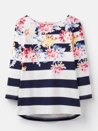 Dames Joules Gestreepte shirt met bloemen print