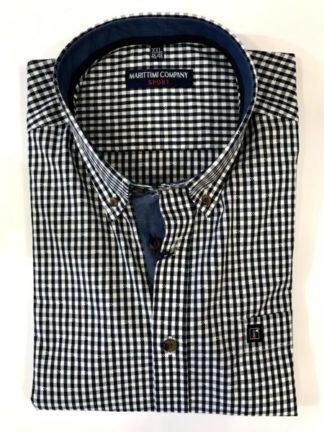 Marittimi-Company-heren-overhemd-blauw-wit-geblokt-korte-mouw-front
