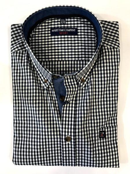 Heren Overhemd Blauw.Dessin Overhemd Korte Mouw Marittimi Company