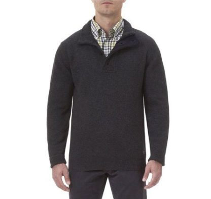 Barbour rits trui met elbow patch Charcoal heren