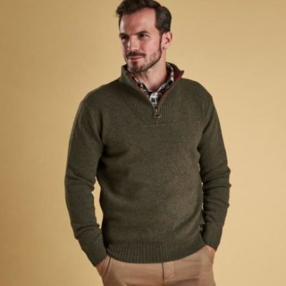 Barbour rits trui met elbow patch Seaweed heren