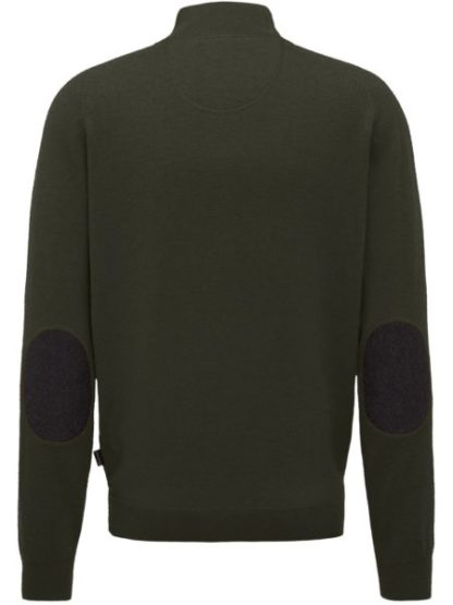 Fynch Hatton Lamswol trui met rits Elbow Patches