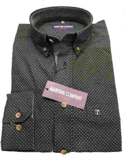 zwart dessin marittini overhemd