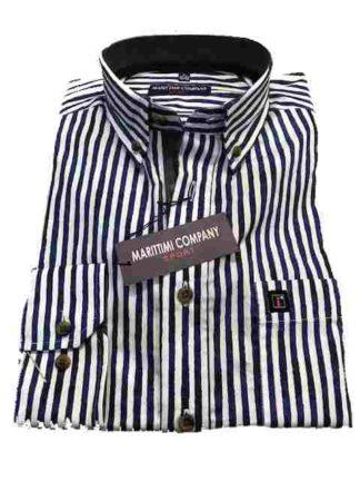 wit blauw gestreept marittini overhemd