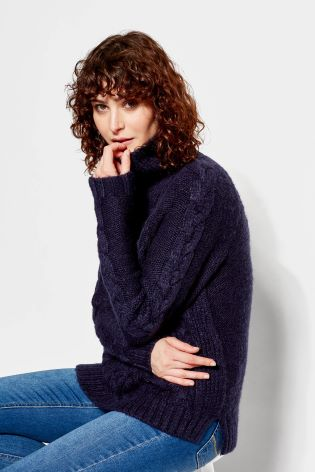 Joules dames Jessie Cosy Cable Knit trui FRNAVY
