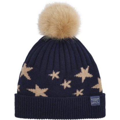 Joules dames Saffy Intarsia Bobble Hat muts NAVSTAR