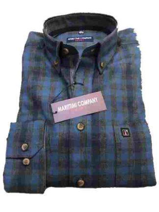 blauw antraciet flannel maritimi overhemd