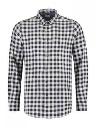 Dstrezzed Shirt small collar Tonal Block Check Lt. Peach twill