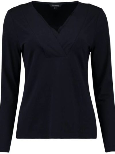 Bloomings V-hals shirt katoen modal elastaan