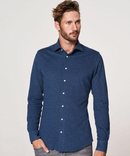 Profuomo Overhemd.Profuomo Knitted Overhemd Blauw Indigo