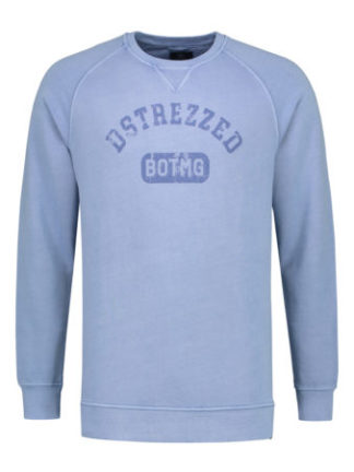 DSTREZZED Heren Crew Pigment Dyed Sweat Blue 211252