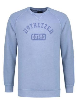 DSTREZZED Heren Crew Pigment Dyed Sweat Blue 211252