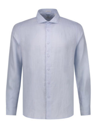 Dstrezzed Heren Shirt Cut Collar Linen Light Blue 303224