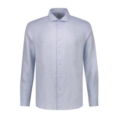 Dstrezzed Heren Shirt Cut Collar Linen Light Blue 303224