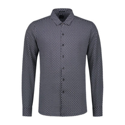 Dstrezzed Heren Shirt Printed Melange Dark Navy 303228