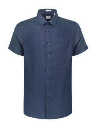Dstrezzed Heren Shirt Regular Collar Linen Navy 311136