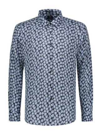 Dstrezzed Heren Shirt Regular Collar Small Paint Flower Dark Navy 303234