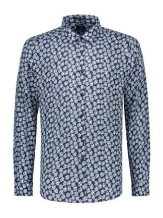 Dstrezzed Heren Shirt Regular Collar Small Paint Flower Dark Navy 303234