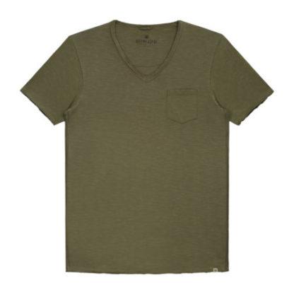 Dstrezzed Heren V-Neck Slub Army Green 202386