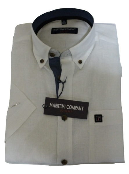 Linnen Overhemd Wit.Wit Linnen Overhemd Korte Mouw Marittimi Company