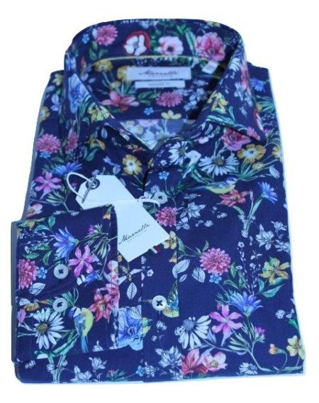 Gebloemd Overhemd.Marnelli Sartoria Blauw Gebloemd Overhemd Connor Hbd