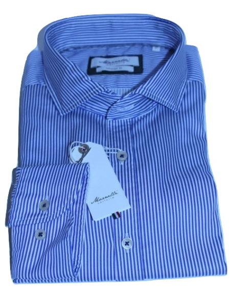 Overhemd Donkerblauw.Marnelli Sartoria Blauw Gestreept Overhemd Servo Bd