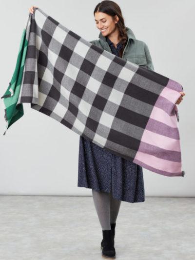 joules_dames_sjaals_Berkley_oversized_check_scarf_detail_2_roze
