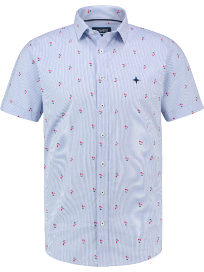 MC13-0105-02 Haze Finn Shirt AOP stretch ss Cherry Stripe 1