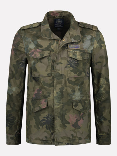 111207 522 dstrezzed worker jacket camo hibiscus canvas army green camo