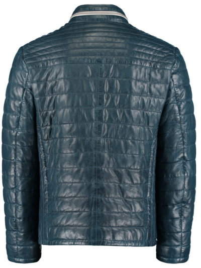 52102 158 76 DNR Est 1860 heren Leather Jack blauw echt leder 2