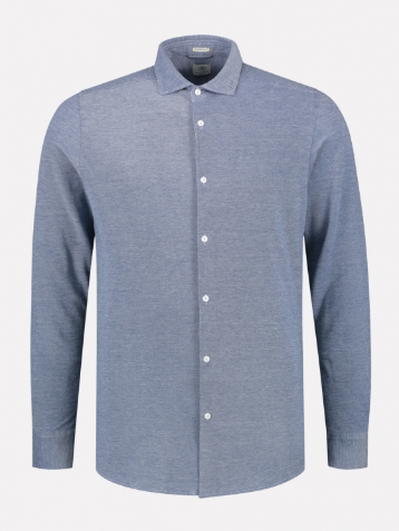 Dstrezzed Shirt Cut Away Melange Pique Blue
