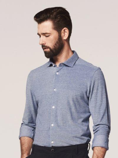 dstrezzed overhemd cut away melange pique front