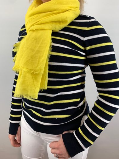 Bloomings dames crew neck pullover multi stripe navy