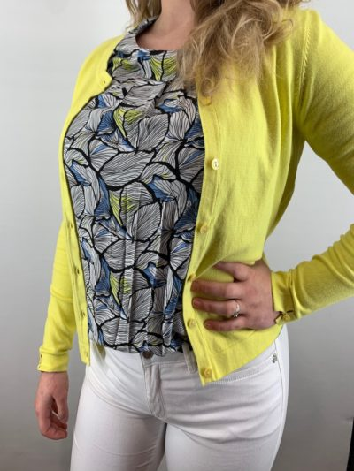 Bloomings dames crew neck cardigan citrus