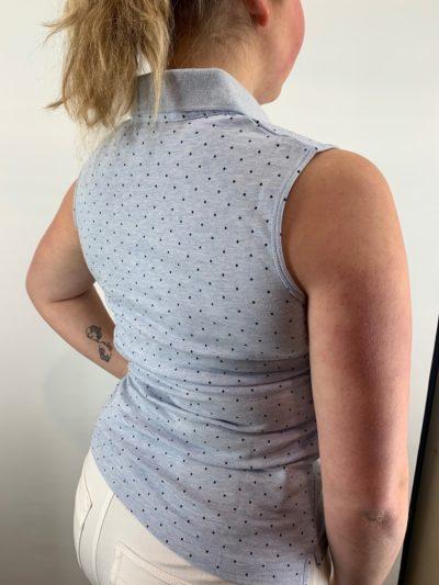 Bloomings dames polo shirt dot print sleeveless sky