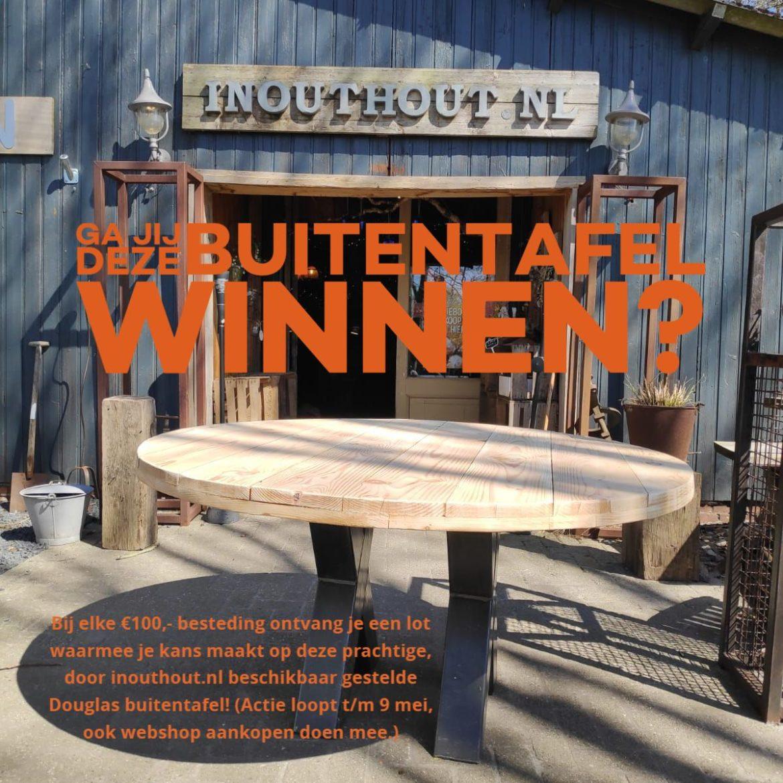 Win deze inouthout buitentafel bij newcoast meppel