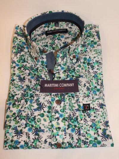 Marittimi Company bloem print overhemd korte mouw