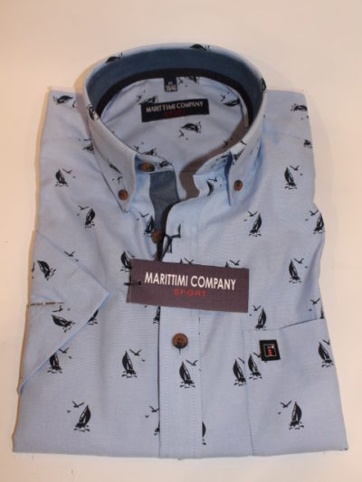 Marittimi Company zeilboot print overhemd korte mouw