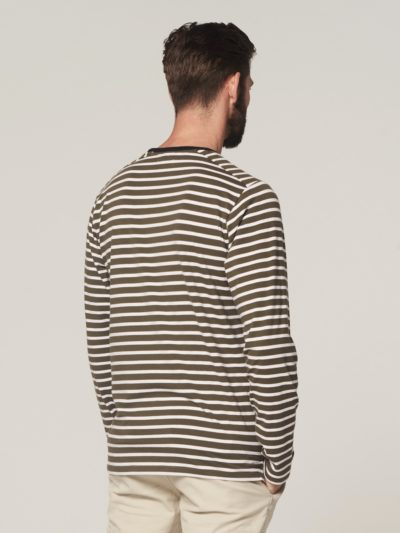 Dstrezzed Boatneck Melange Stripe Army Green 2