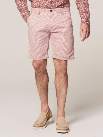 Dstrezzed Chino Shorts Fine Marine Stripe Lt. Stretch Twill Old Pink 1