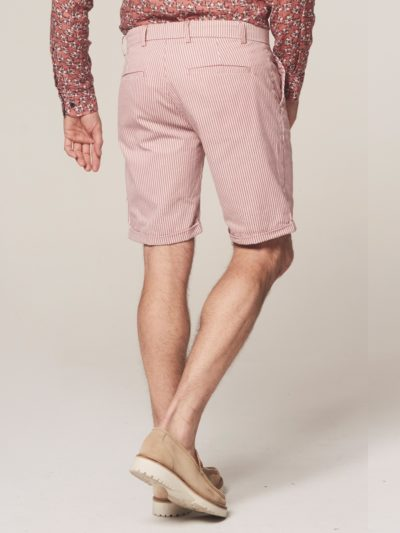 Dstrezzed Chino Shorts Fine Marine Stripe Lt. Stretch Twill Old Pink 2