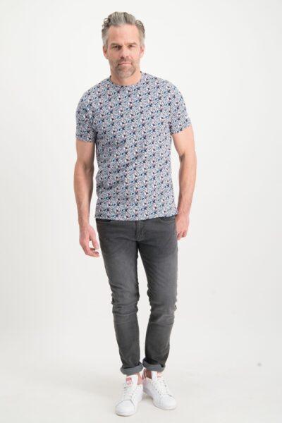 Haze&Finn_heren_t-shirts_Floral_printed_t-shirt_Indigo_2