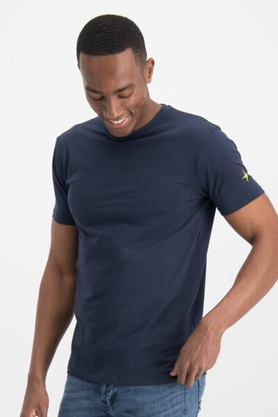 Haze&finn_heren_t-shirts_Slim_fit_crew_neck_stretch_T-shirt_navy_1