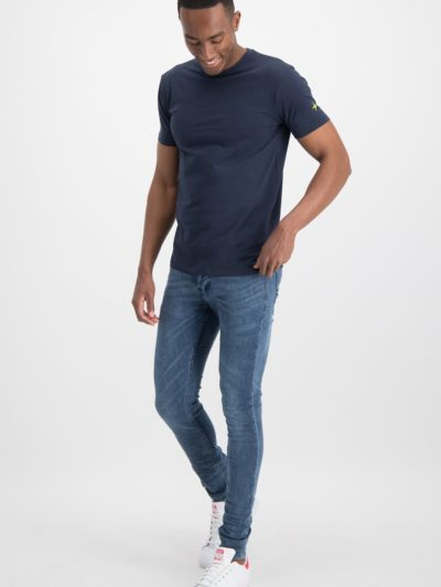 Haze&finn_heren_t-shirts_Slim_fit_crew_neck_stretch_T-shirt_navy_2